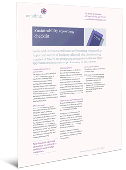 Sustainability Reporting Checklist - www.terrafiniti.com