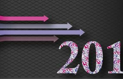 Graphic of coloured arrows left to right and 2019 date device